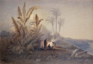 Water colour by Howard Carter of Amelia Edwards's first visit to Egypt--which lead to the founding of the EEF/EES. Photo courtesy of EES's Lucy Gura Archive.