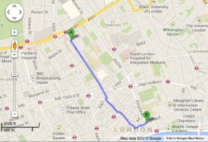 Point A = UCL Point B = King's Courtesy of Google Maps